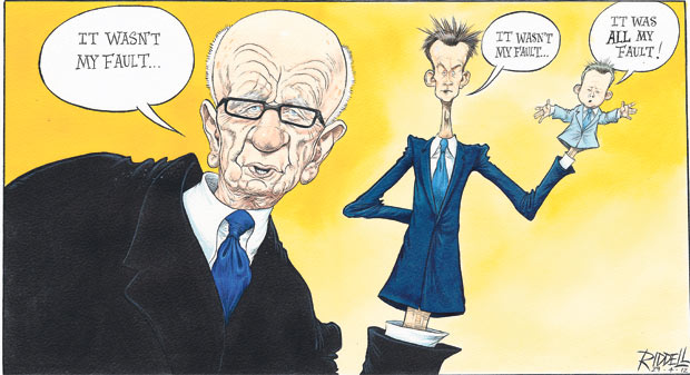 Chris Riddell on Rupert Murdoch's hand-in-glove relationship