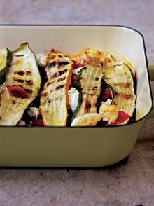Courgette, tomato and ricotta bake