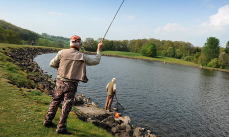 Men fly fishing at Trimpley Reservoir near Arley Worcestershire England Uk