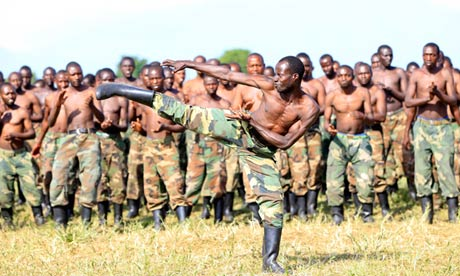 M23 rebels train in the Democratic Republic of the Congo.
