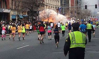 The now-famous video frame that shows one of the bombs detonating at the 2013 Boston Marathon.
