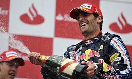 Celebrated: German GP winner Webber
