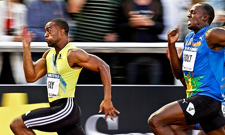 Tyson Gay of the US wins the men's 100m in Stockholm with Usain Bolt in second
