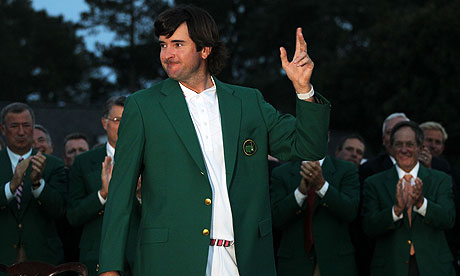 Bubba Watson sports the Green Jacket after winning the Masters at Augusta