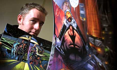 Mark Millar with some of his comicbook creations