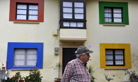 The Spanish village of Sietes (Sevens) decorated in Windows 7 colours for the launch of the Microsoft product. Photograph: Eloy Alonso/Reuters