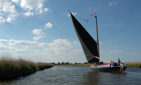 An historic Norfolk trading wherry Albion on the River Bure