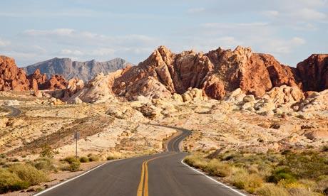 Image: Two lane desert highway, Nevada