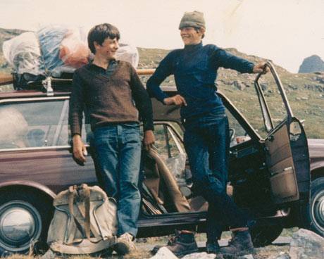 Paul Webster (standing left) on the long drive to Scotland
