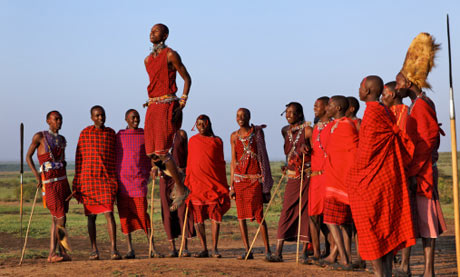 Masai warriors traditional jumping