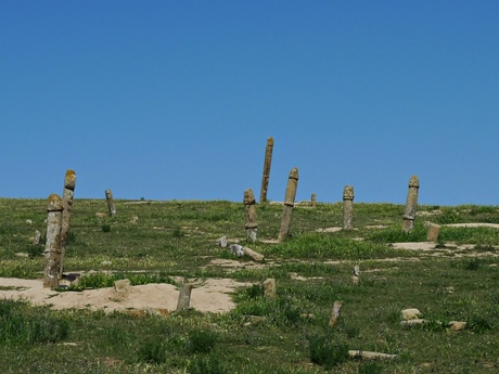 Phallic gravestones on the Turkmenistan border.