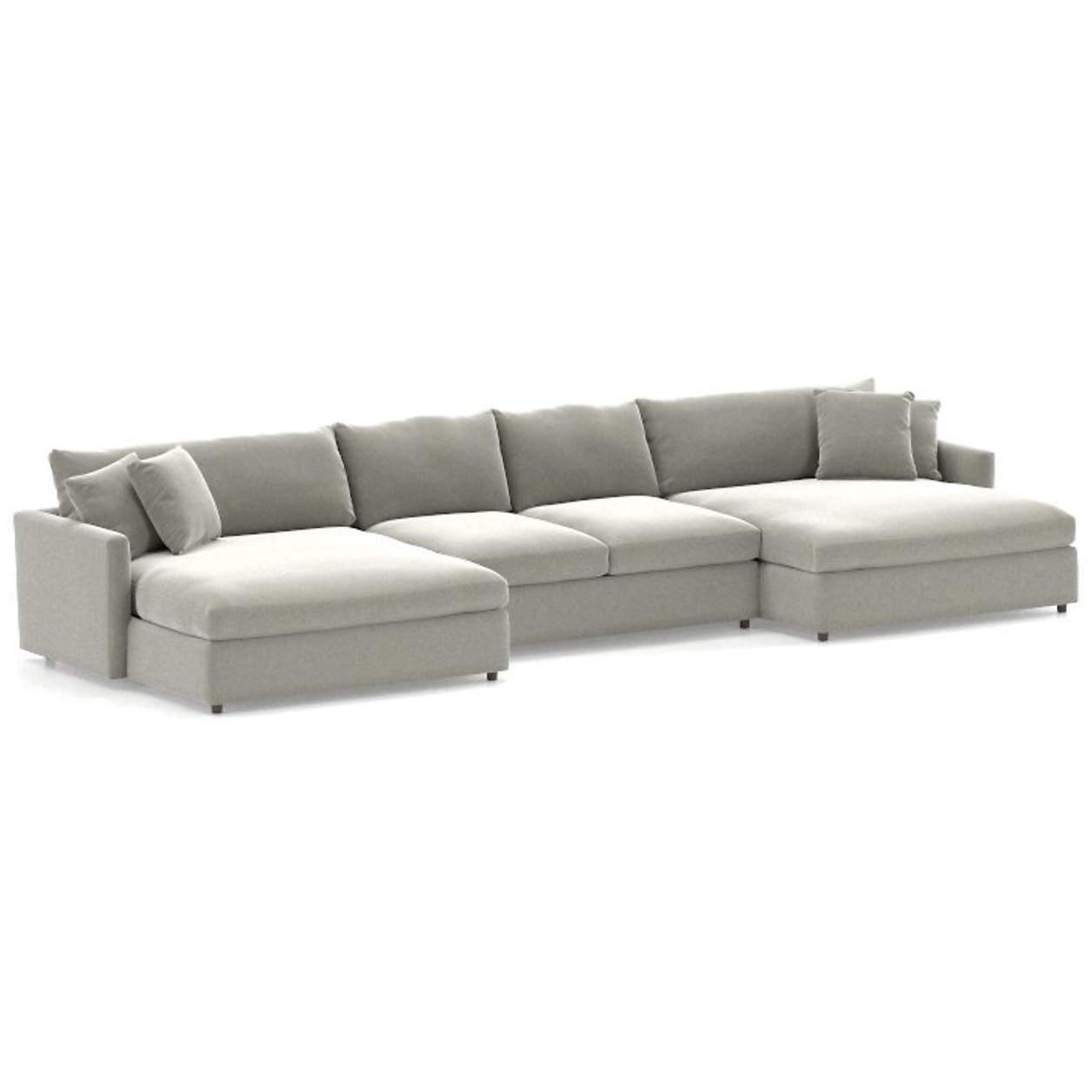 lounge ii 3 piece double chaise sectional sofa