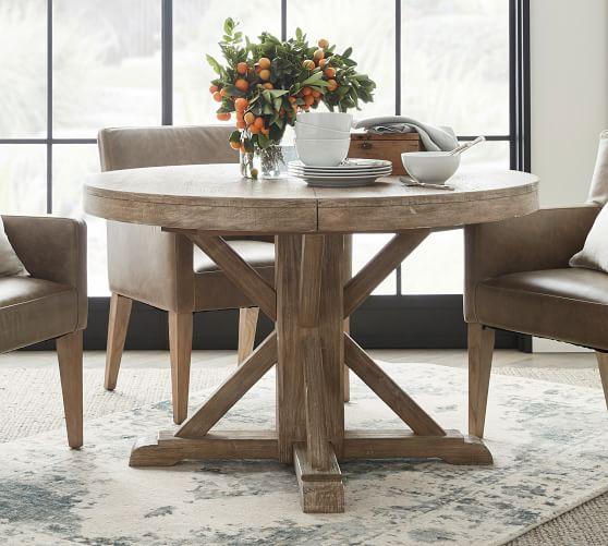 benchwright extending pedestal dining table 48 72 l seadrift