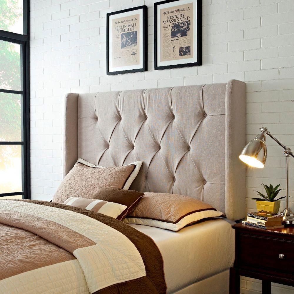 tan king california king headboard tufted upholstered panel headboard with wings