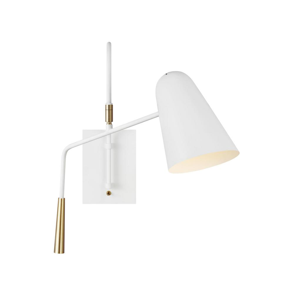 generation lighting designer collections ed ellen degeneres crafted by generation lighting simon 4 875 in matte white sconce with burnished brass