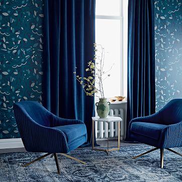 worn velvet curtain blackout regal blue 48 x96 individual west elm