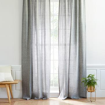 semi sheer belgian flax linen melange curtain blackout lining slate 48 x96