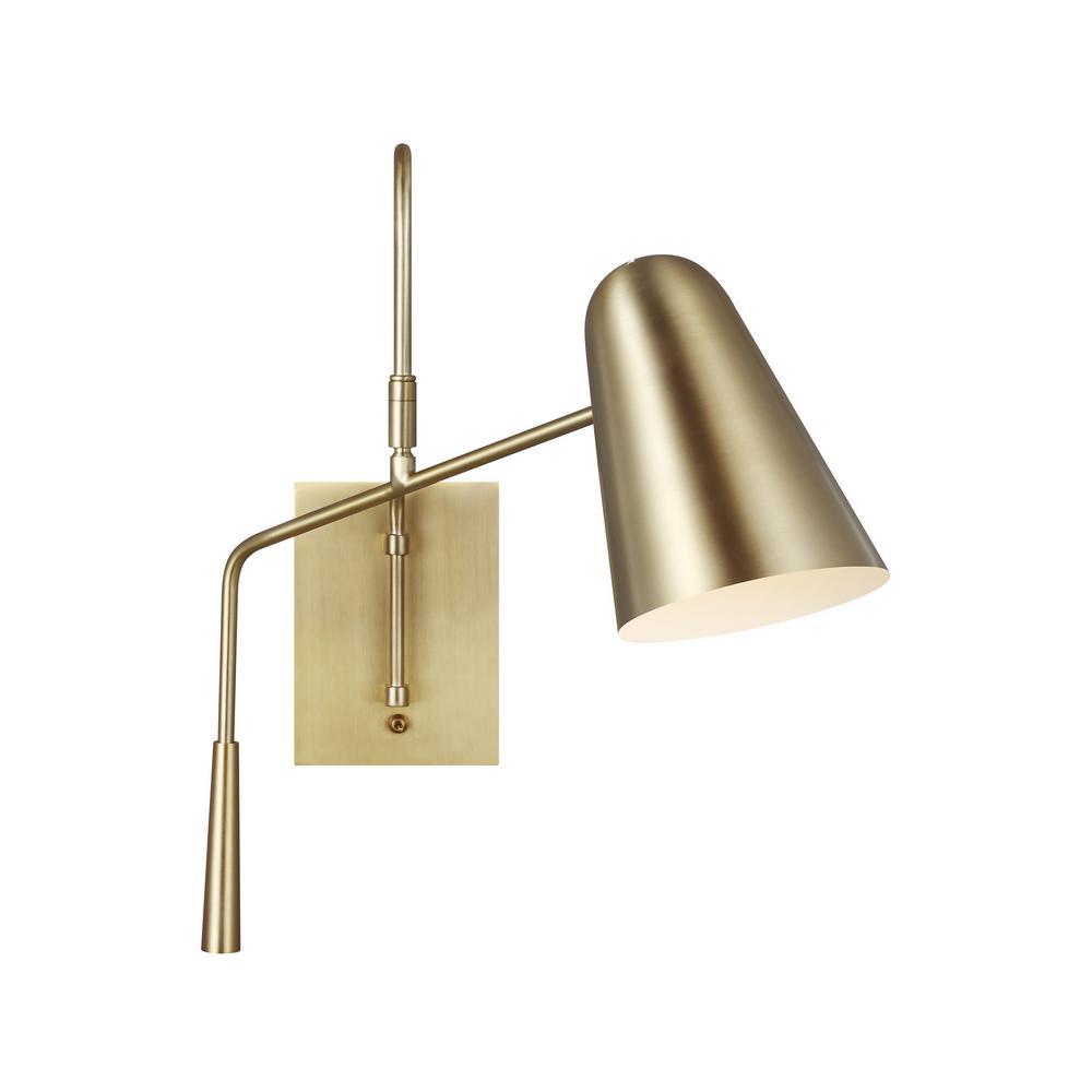 generation lighting designer collections ed ellen degeneres crafted by generation lighting simon 4 875 in burnished brass swivel sconce