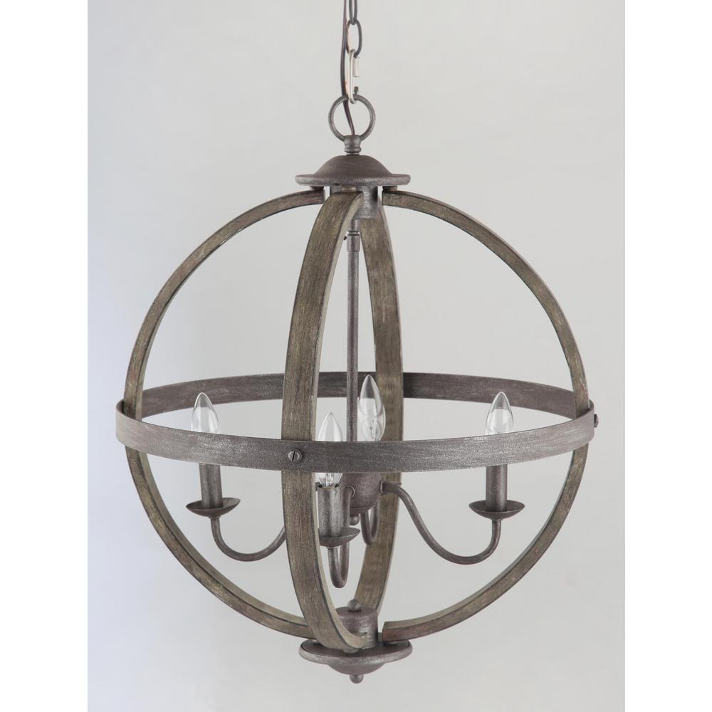 progress lighting keowee collection 19 88 in 4 light artisan iron orb chandelier with elm wood accents home depot