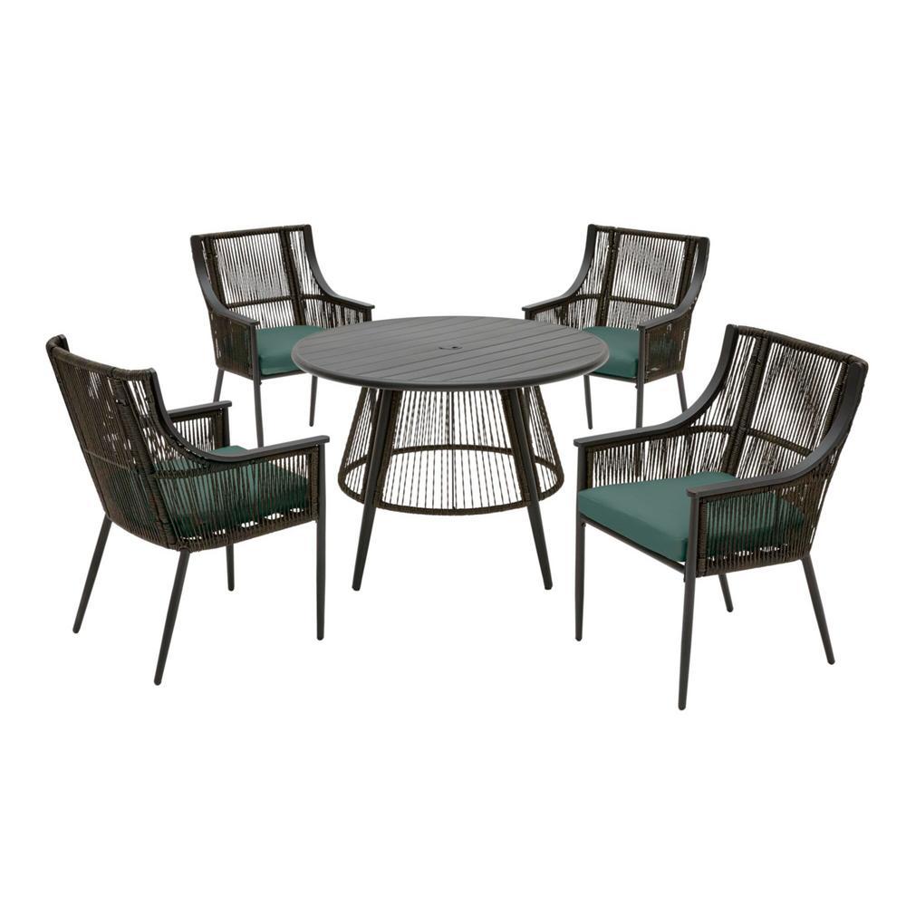 hampton bay bayhurst 5 piece black wicker outdoor patio dining set with cushionguard charleston blue green cushions