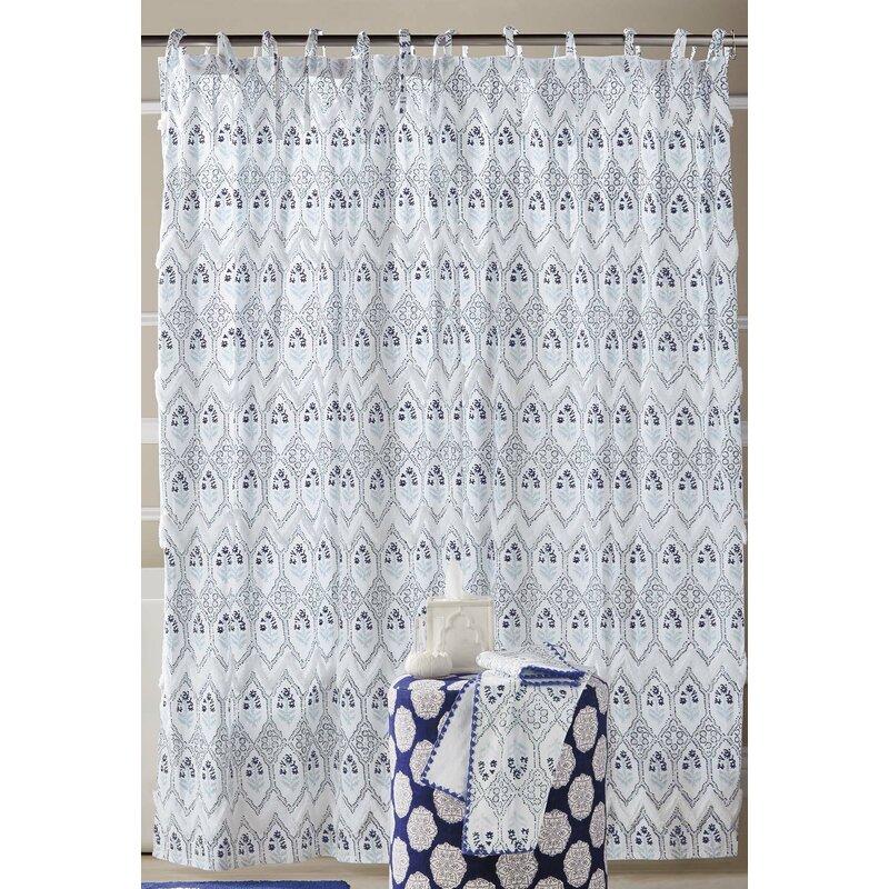 john robshaw sahasa cotton single shower curtain color blue
