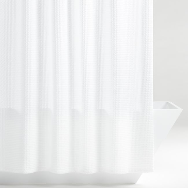 organic cotton waffle white shower curtain crate and barrel