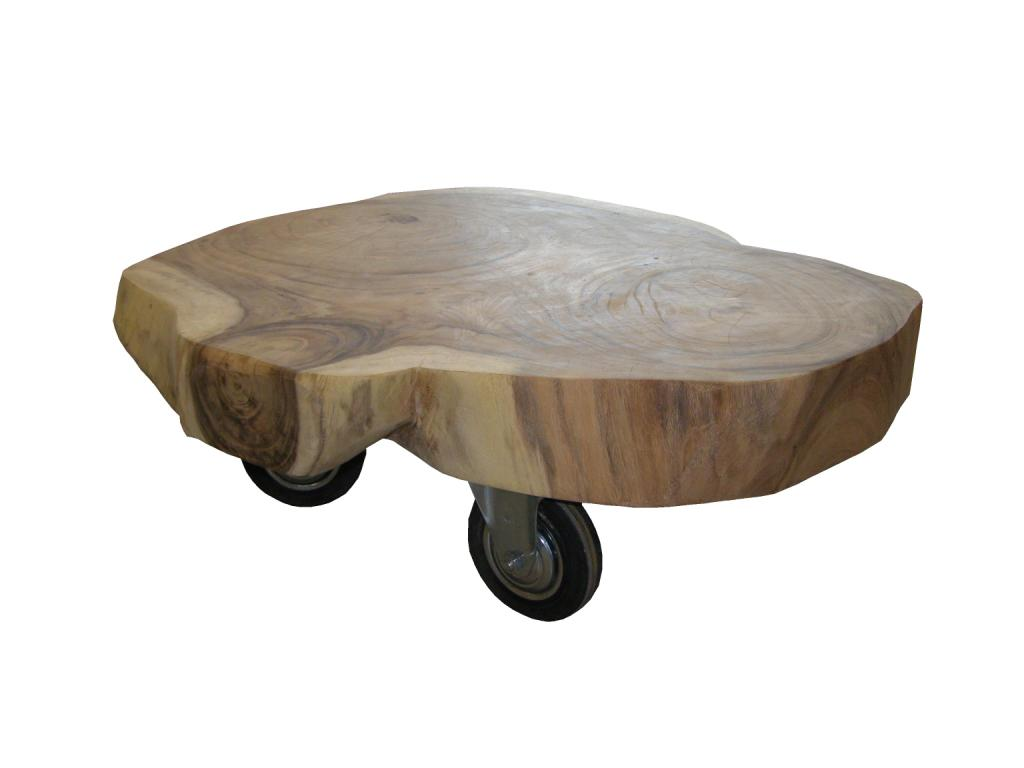 coffee table on wheels tree slice