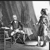 Depiction of William Weatherford surrendering to Andrew Jackson after the Battle of Horseshoe Bend