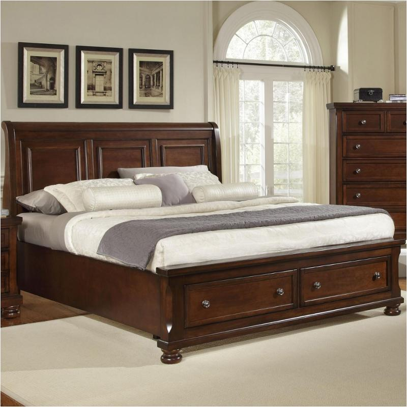 530 663 st vaughan bassett furniture reflections dark cherry king sleigh storage bed dark cherry
