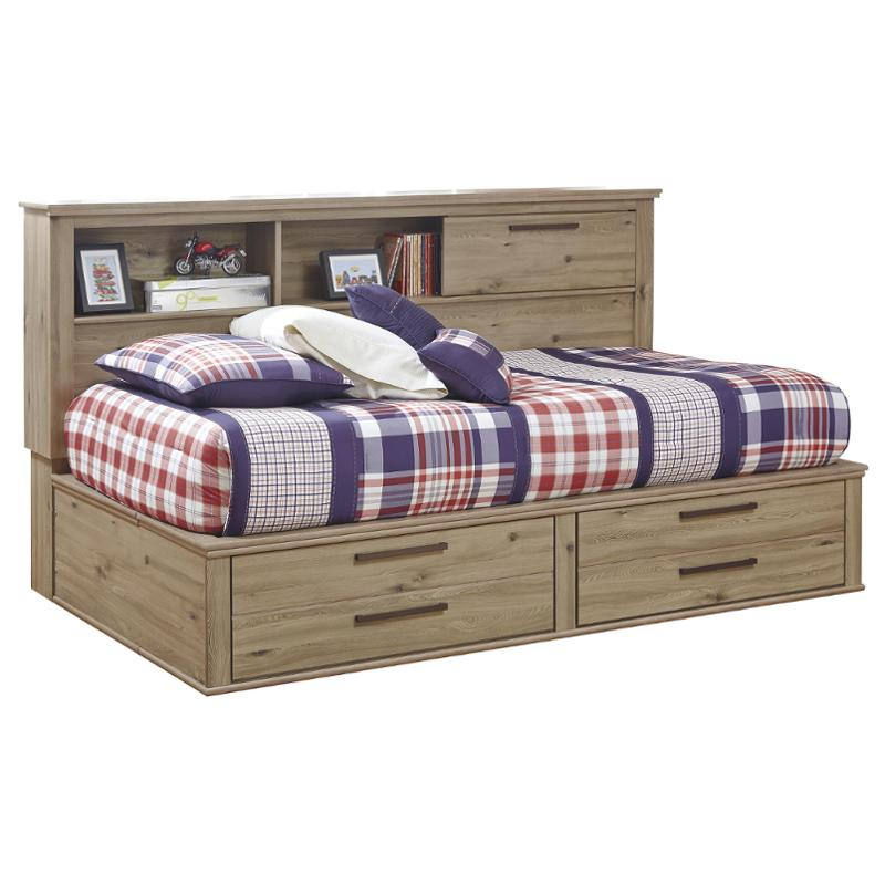 b298 05 ashley furniture dexifield beige brown twin full storage footboard