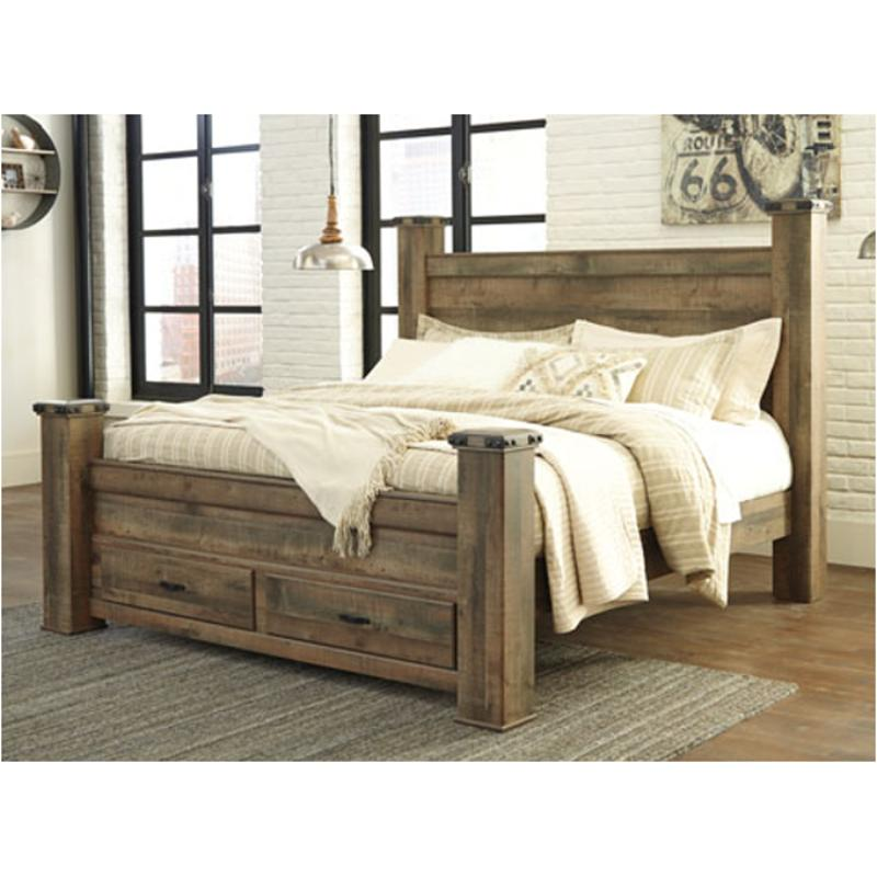 b446 61 ashley furniture trinell brown queen king poster headboard posts