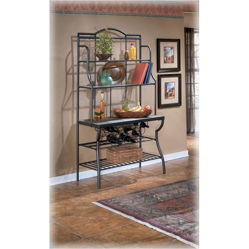 Organize your kitchenin an easy-elegant waywith this bakers rack crafted of sturdy black metal. D233 76 Ashley Furniture Antigo Dining Room Bakers Rack