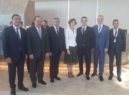 În centrul imaginii, împreună cu secretarul general al OMT, Zurab Pololiksvili, sunt responsabilii de turism din Argentina, Azerbaidjan și Grecia.