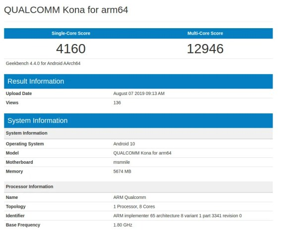 Snapdragon 865 spotted on Geekbench running on a smartphone with Android Q and 6GB RAM.