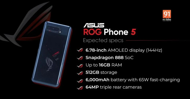 phones launching in March ASUS ROG Phone 5