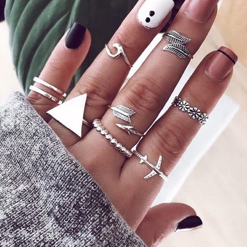 17 Pcs Ladies Fashion Octagon Star Rings