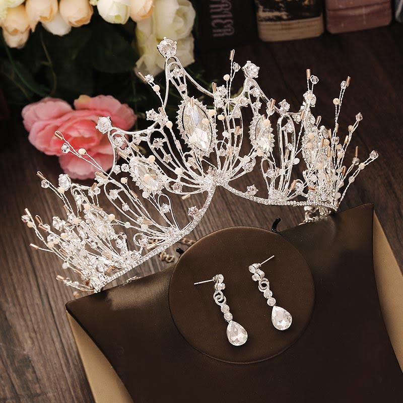 Bridal Rhinestone Crystal Gold Jewelry Set
