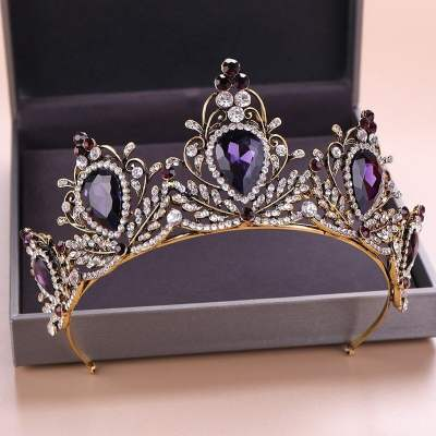 Baroque Purple Crystal Tiara (Purple)