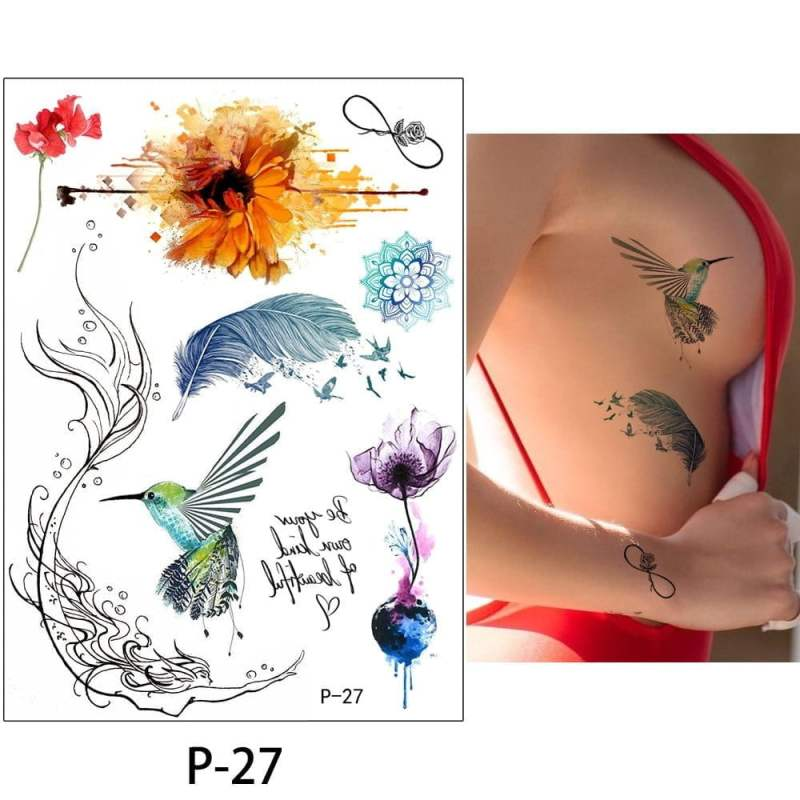 Flower Butterfly Printed Temporary Tattoo