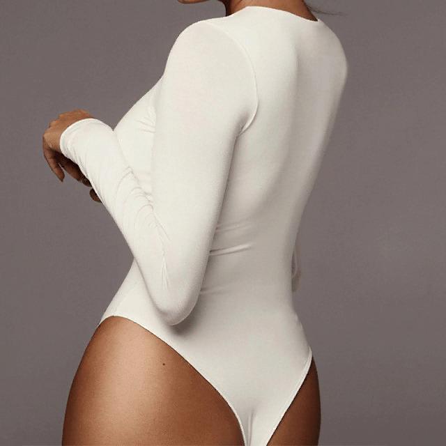 Long Sleeve Solid White Bodysuit