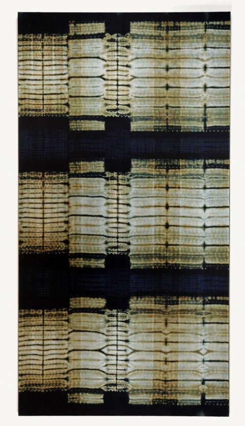 Frank Connet Indigo and walnut dyes on wool using shibori sewn resist. Mounted on stretcher.