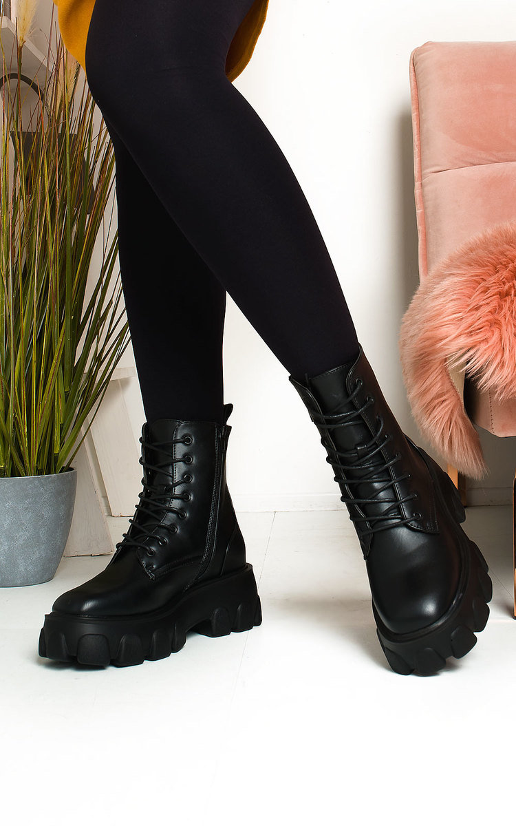 Xanthe Lace Up Chunky Biker Boots in Black pu | ikrush