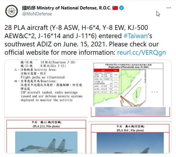 ROC Reports Incursion by 28 PLA Aircraft