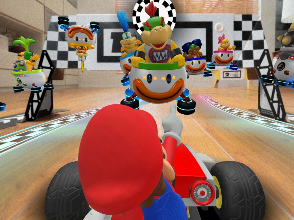 Mario's car, racetrack and opponents overlay live footage of your living room