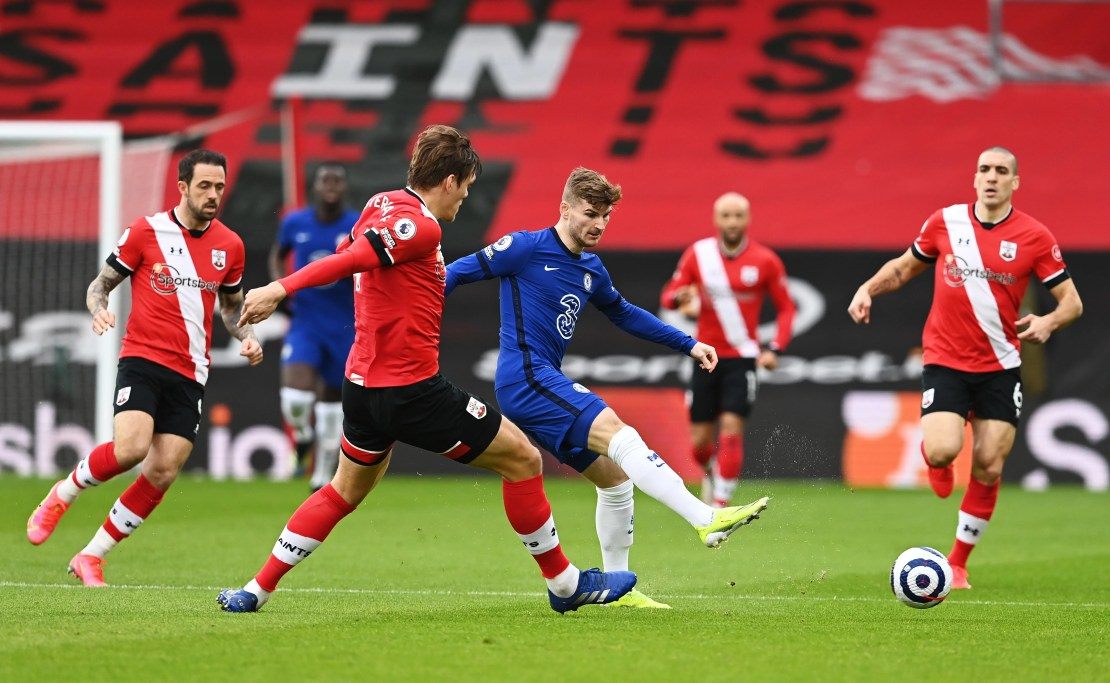 Timo Werner on the ball for Chelsea