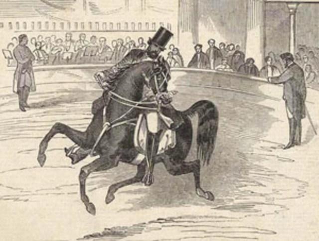 <p>Pablo Fanque performing at Astley's Amphitheatre, 1847</p>
