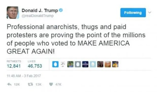 Image result for trump tweet paid for professional paid for protesters anarchists