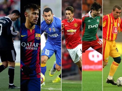 Cristiano Ronaldo, Neymar, Carlos Tevez, Adnan Januzaj, Vedran Corluka and Gheorghe Hagi