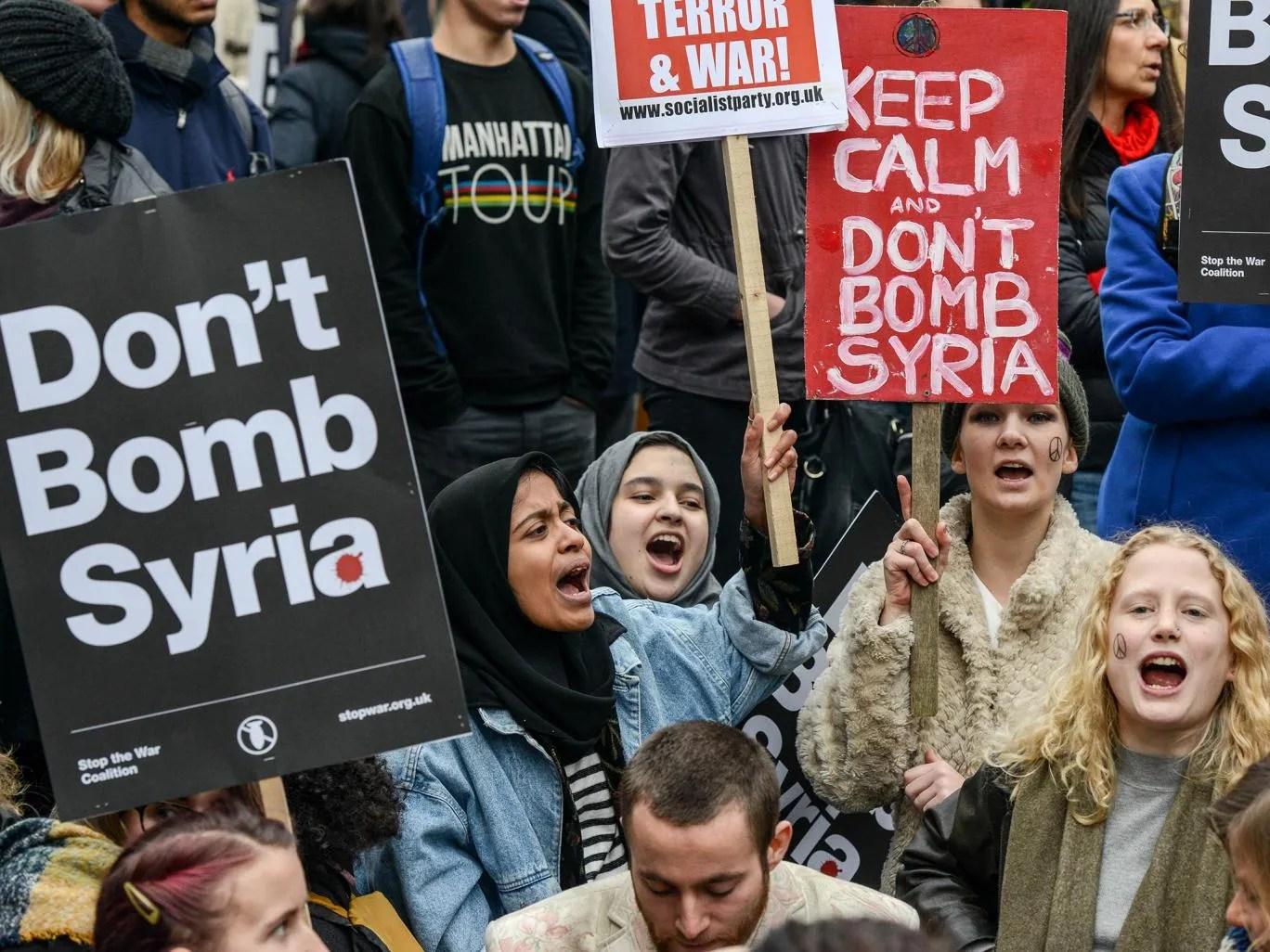 Pro-peace demonstrators in London