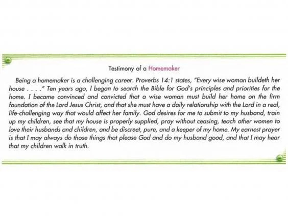 A passage from an Accelerated Christian Education textbook about the role of a 'homemaker' woman